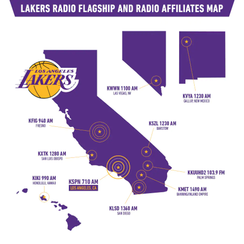 Lakers Flagship Radio and Afflilaites Map